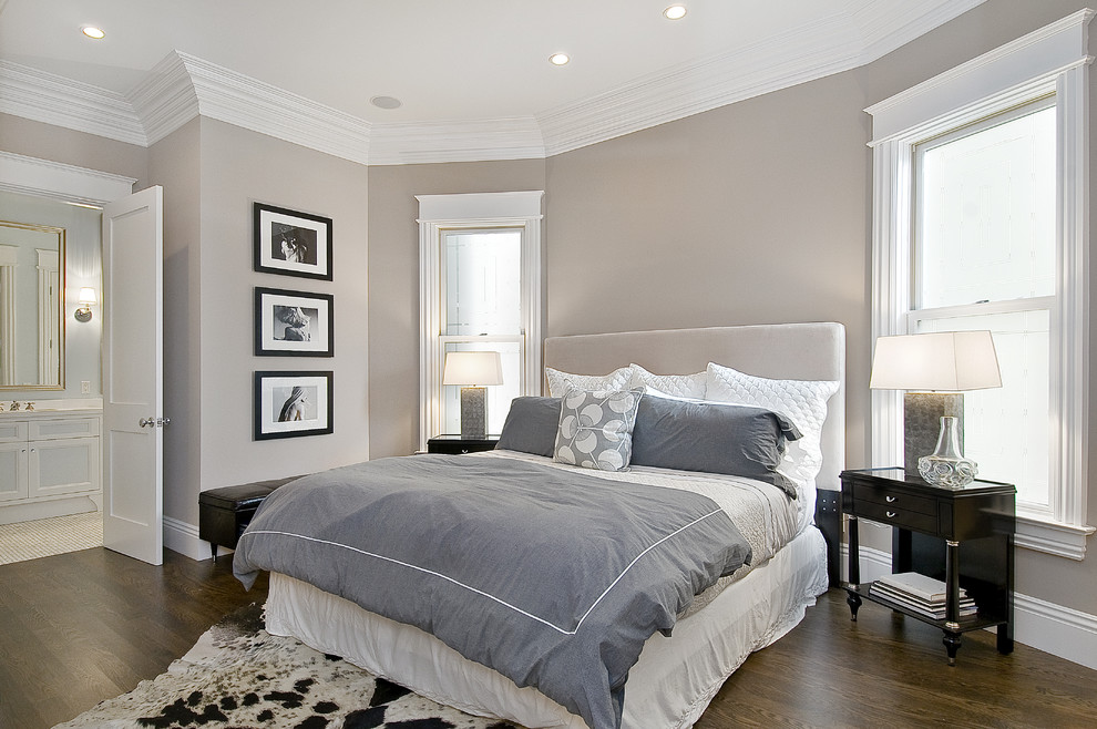 White Duvet Cover Queen Bedroom Traditional with Artwork Bed Side Table Cow Hide Crown Molding Gray Gray Bedding Leather