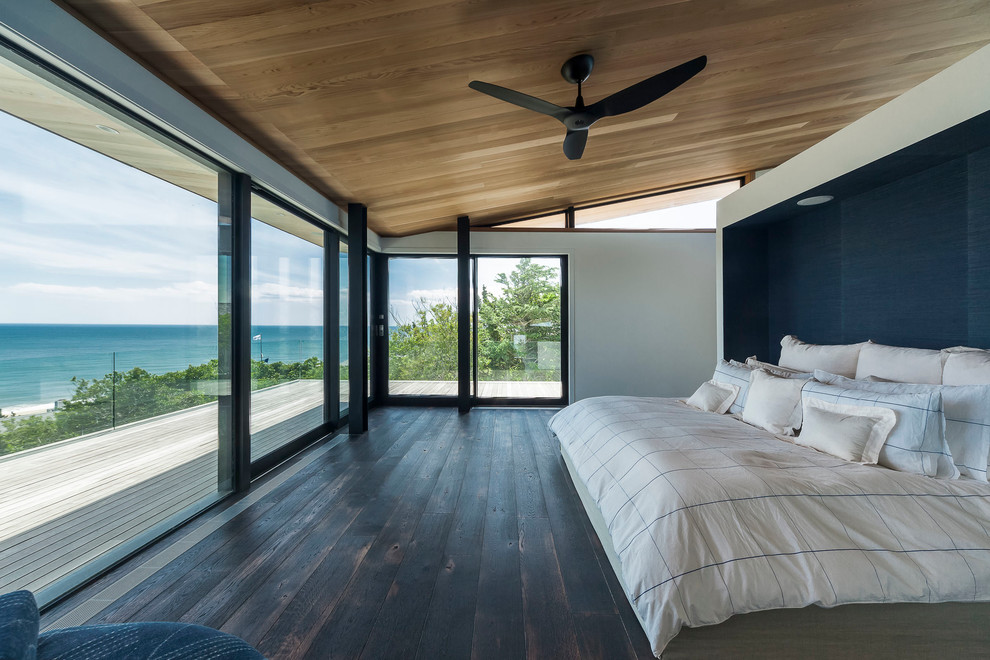 White Euro Sham Bedroom Contemporary with Accent Wall Balcony Beach Home Beachfront Bed Bedding Ceiling Fans Cool Deck