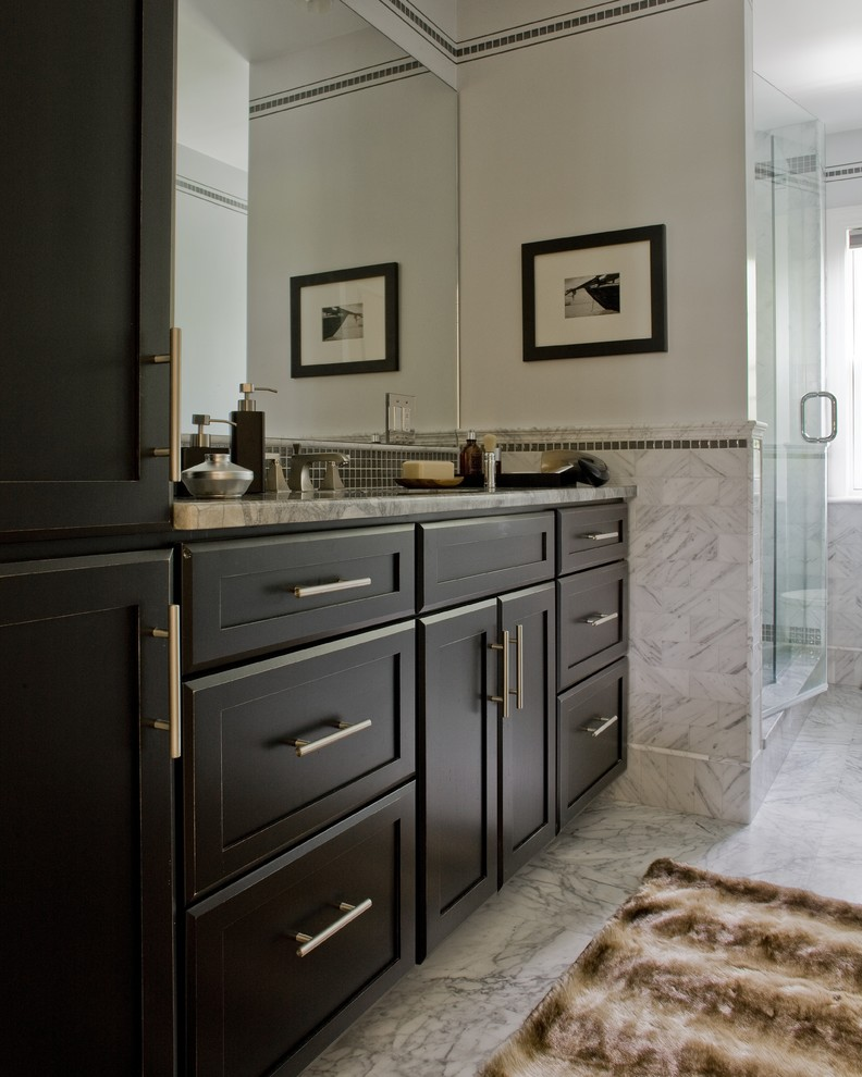 White Faux Fur Rug Bathroom Contemporary with Bathroom Black and White Classic Clean Dark Cabinets Masculine