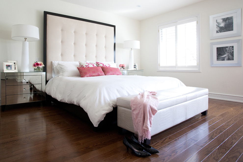 White Headboard Queen Bedroom Contemporary with Bed Pillows Bedside Table Foot of the Bed Gallery Wall Mirrored Furniture