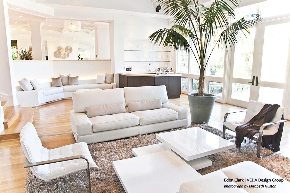 White Lacquer Coffee Table Home Theater Modern with Built in White Leather Benches Custom Bar Floor to Ceiling Windows Glass Bar