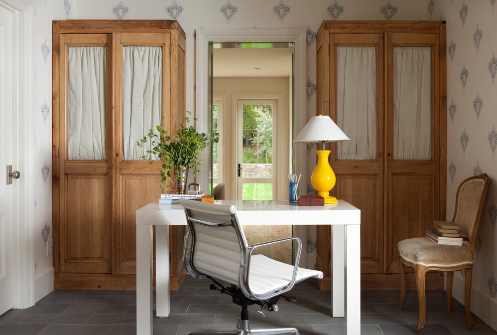 white lacquer desk Home Office Farmhouse with beige velvet wooden chair half glass door cabinets natural wood wardrobes symmetry