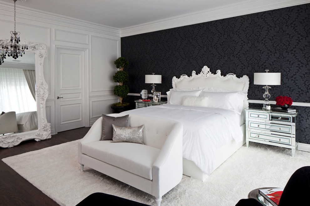 white loveseat Bedroom Transitional with bedside lamps Black Wallpaper contemporary artwork dark wood floor drum shades Eclectic
