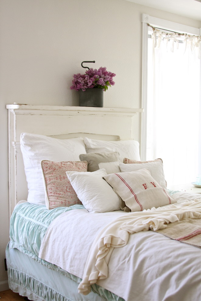 White Queen Headboard Bedroom Shabby Chic with Bedskirt Decorative Pillows Dust Ruffle French Country Green Duvet Monogram Reclaimed Furniture