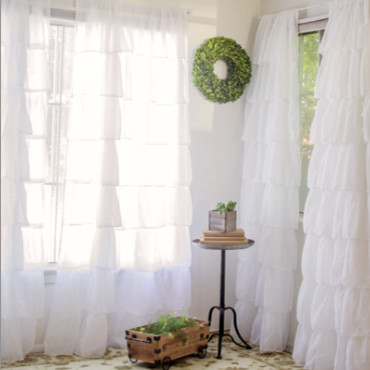 white ruffle curtains Spaces Farmhouse with Decor Steals ruffle curtains White ruffle curtains