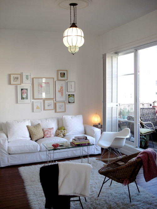 White Shag Rug Living Room Eclectic with Bohemian Modern 1