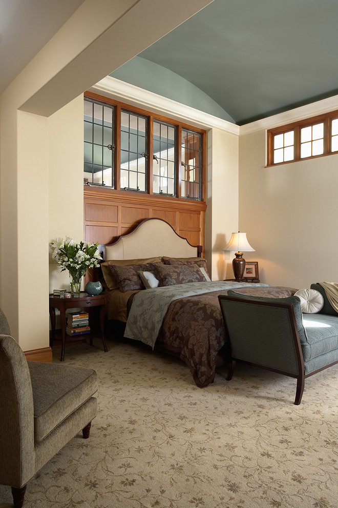 White Sleigh Bed Bedroom Traditional with Arched Ceiling Area Rug Bedside Tables Chaise Clerestory Windows Leaded Glass Recessed