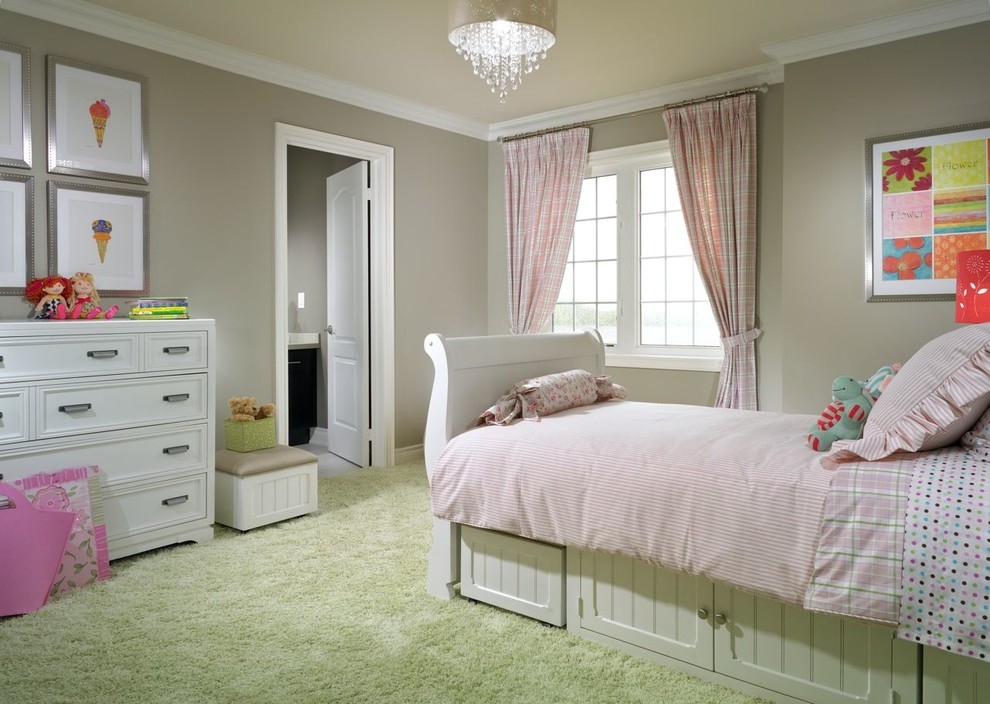 White Sleigh Bed Kids Traditional with Beige Wall Drum Pendant Light Girls Bedroom Little Girls Room Pink Bedding