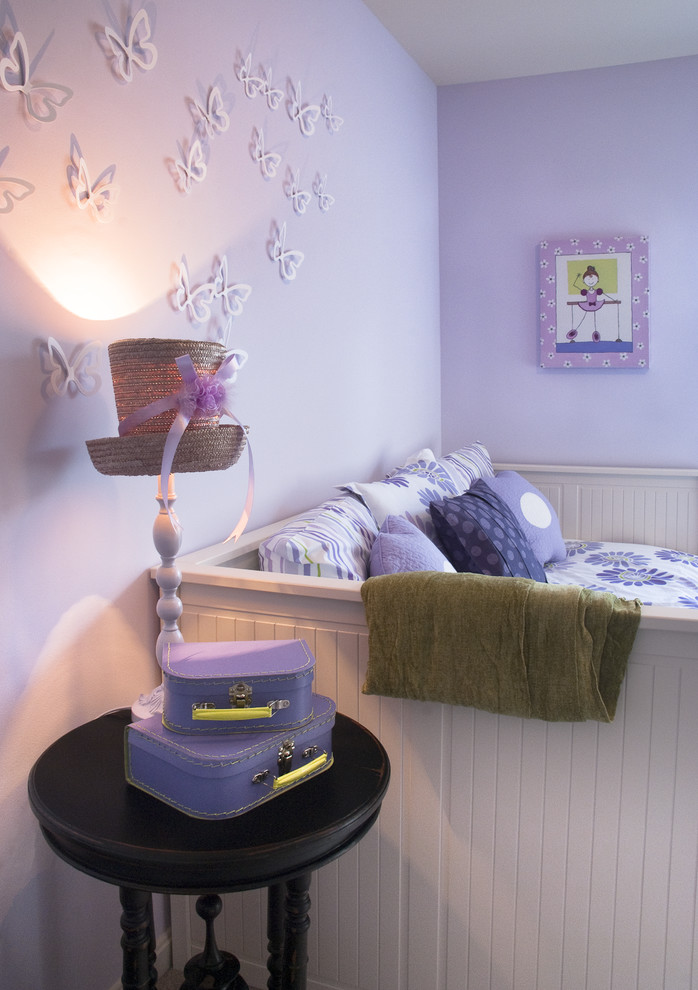 White Trundle Bed Kids Eclectic with Black Side Table Butterfly Wall Application Floral Comforter Hat Table Lamp Purple