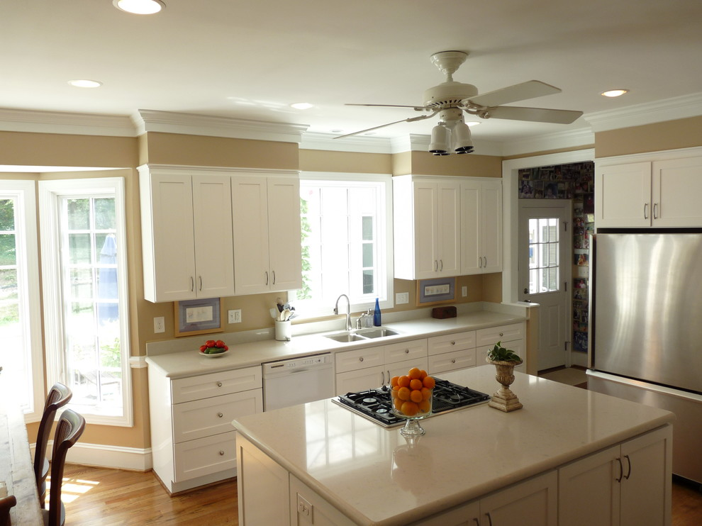Whitehall Products Kitchen Traditional with Ceiling Fan Ceiling Lighting Crown Molding Kitchen Hardware Kitchen Island Recessed Lighting