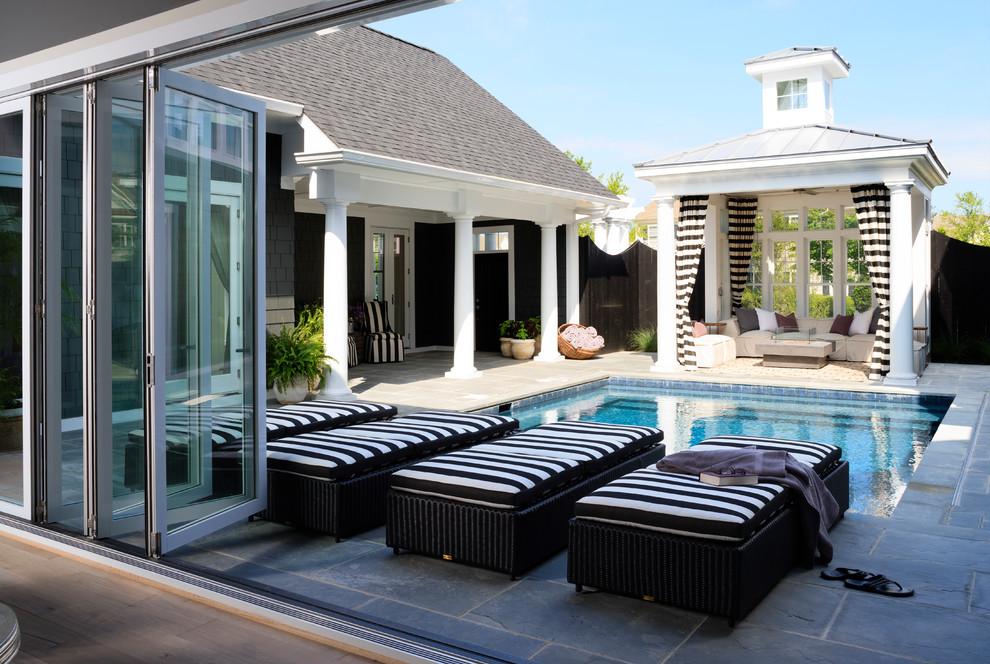 Wicker Chaise Lounge Pool Beach with Beach Cottage Beach House Beige Sofa Bifold Glass Doors Black and White