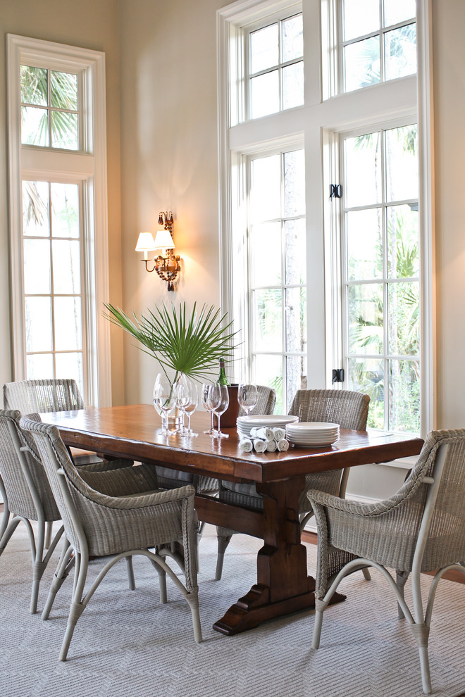 Wicker Dining Chairs Dining Room Beach with Area Rug Beach Dining Room Divided Lights High Ceilings Neutral Colors Sconce