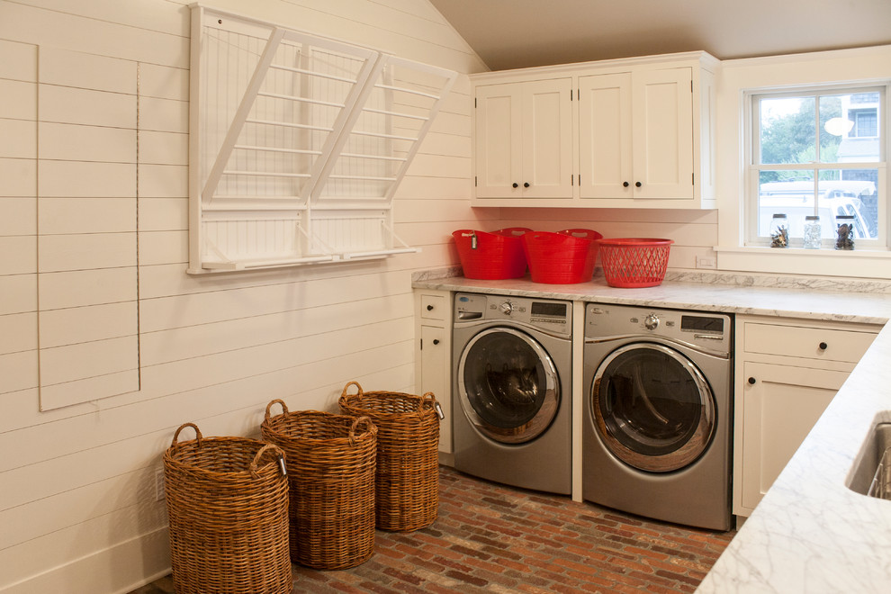 Wicker Hamper Laundry Room Beach with Barn Beams Drying Rack Farm Kitchen Open Traditional Wicker Baskets Wicker Laundry