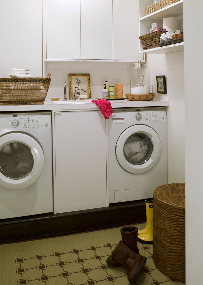 Wicker Hamper Laundry Room Contemporary with Built in Storage Front Loading Washer and Dryer Small Space White Cabinets