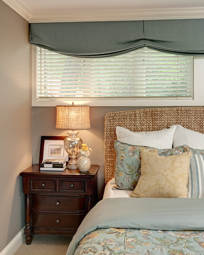 Wicker Headboard Bedroom Traditional with Blue Coastal Style Mercury Glass Lamp Neutral Colors Pottery Barn Bedding Seagrams