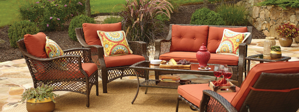 Wicker Loveseat Patio with Cool Deck Outdoor Dining Furniture Outdoor Entertaining Outdoor Space Patio Furniture Wicker