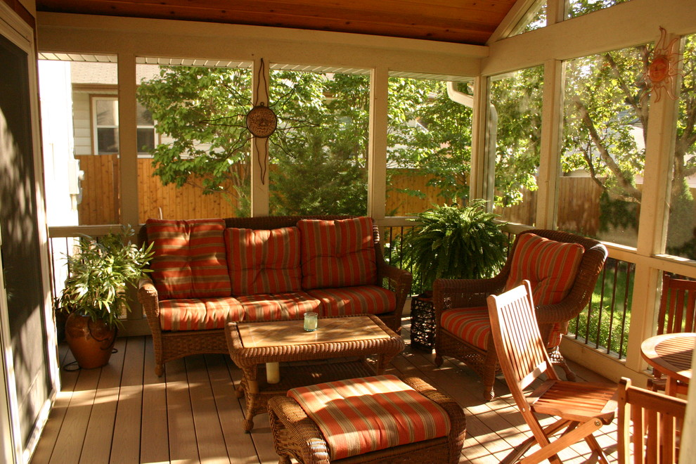 Wicker Patio Chairs Porch Traditional with Covered Porch Enclosed Porch Orange Outdoor Cushions Outdoor Dining Screened in Porch Striped