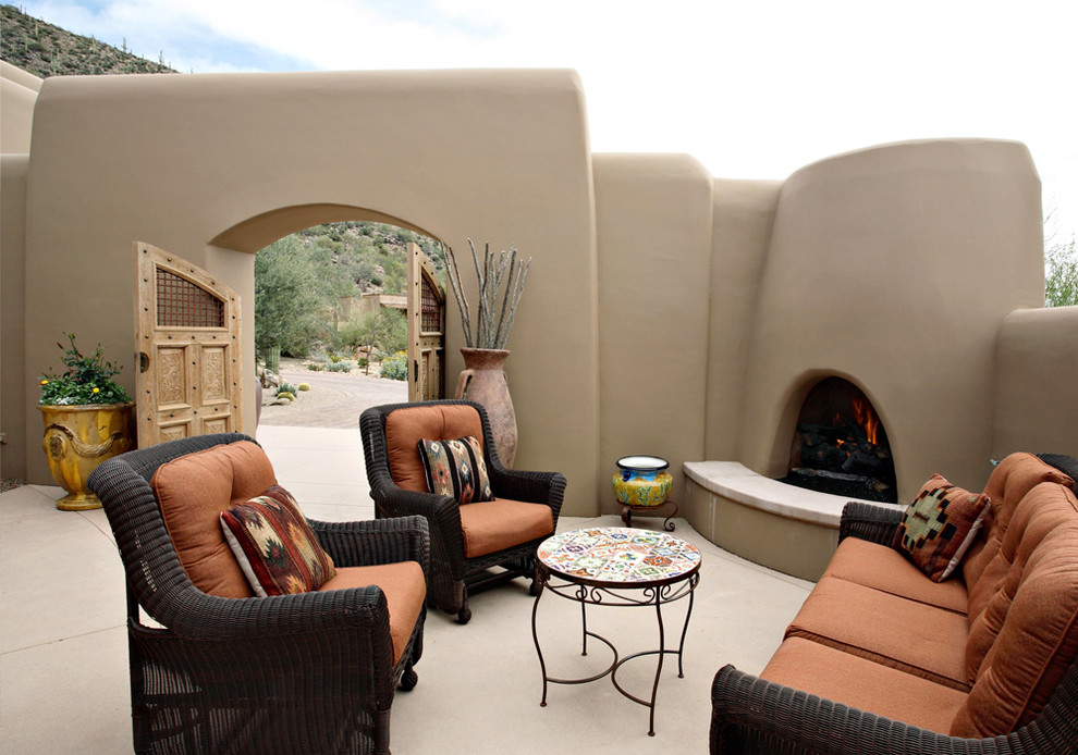 Wicker Patio Furniture Patio Southwestern with Abode House Adobe Arch Adobe Fireplace Adobe Wall Arched Fireplace Concrete Patio1