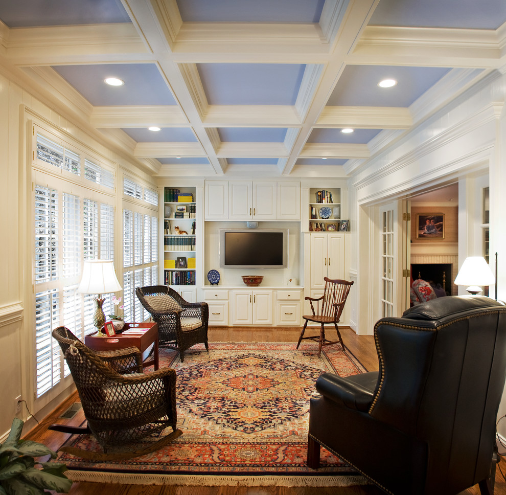 Wicker Rocking Chair Family Room Traditional with Airy Room Antique Armchair Area Rug Beams Blue Ceiling Built in Shelves Cabinet