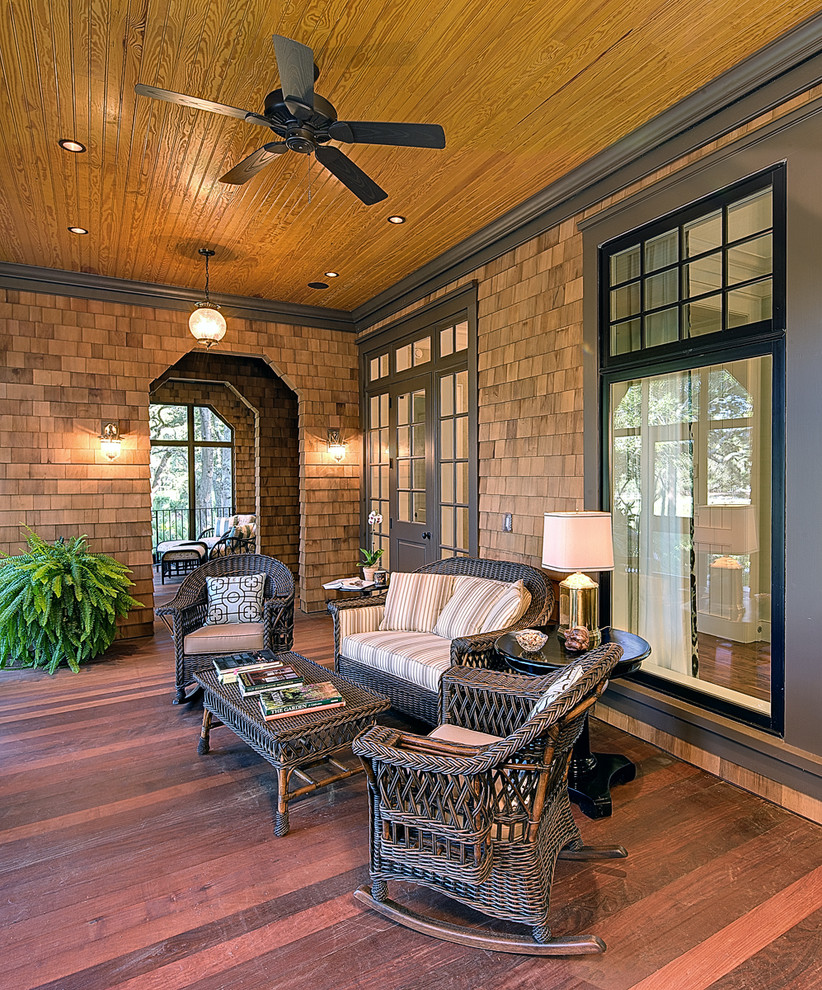 Wicker Rocking Chair Porch Traditional with Ceiling Fan Gass Pendant Light Gold Table Lamp Gray Trim Outdoor Furniture