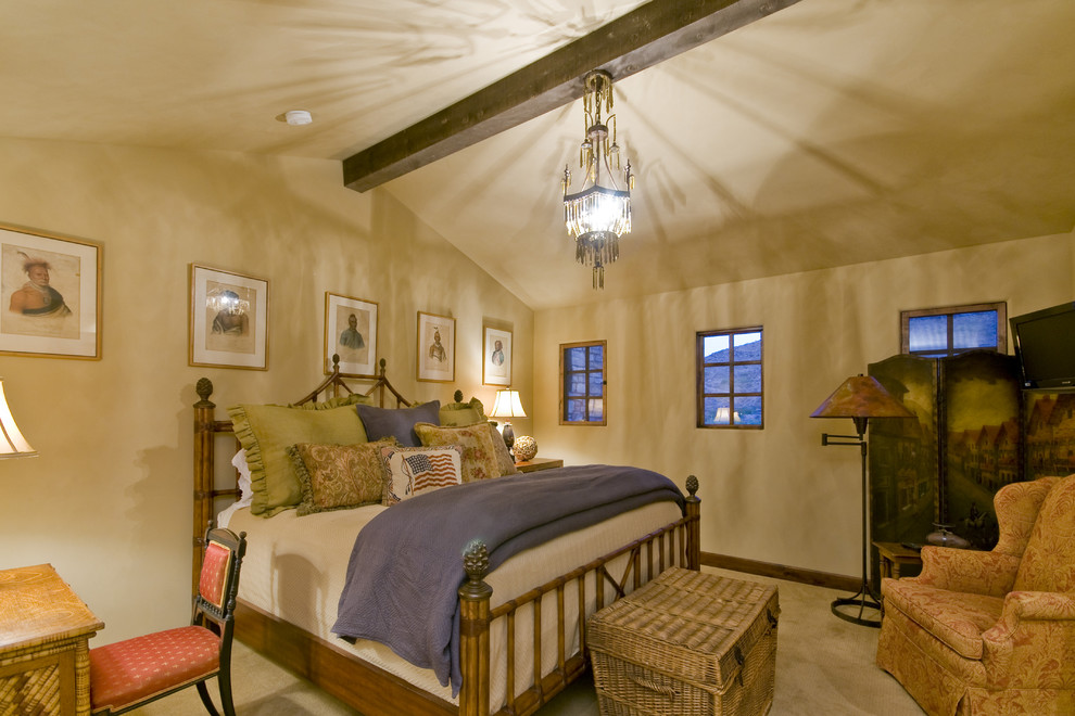 Wicker Trunk Bedroom Traditional with Bamboo Headboard Beige Walls Chandelier Exposed Beams Folding Screen Foot of The