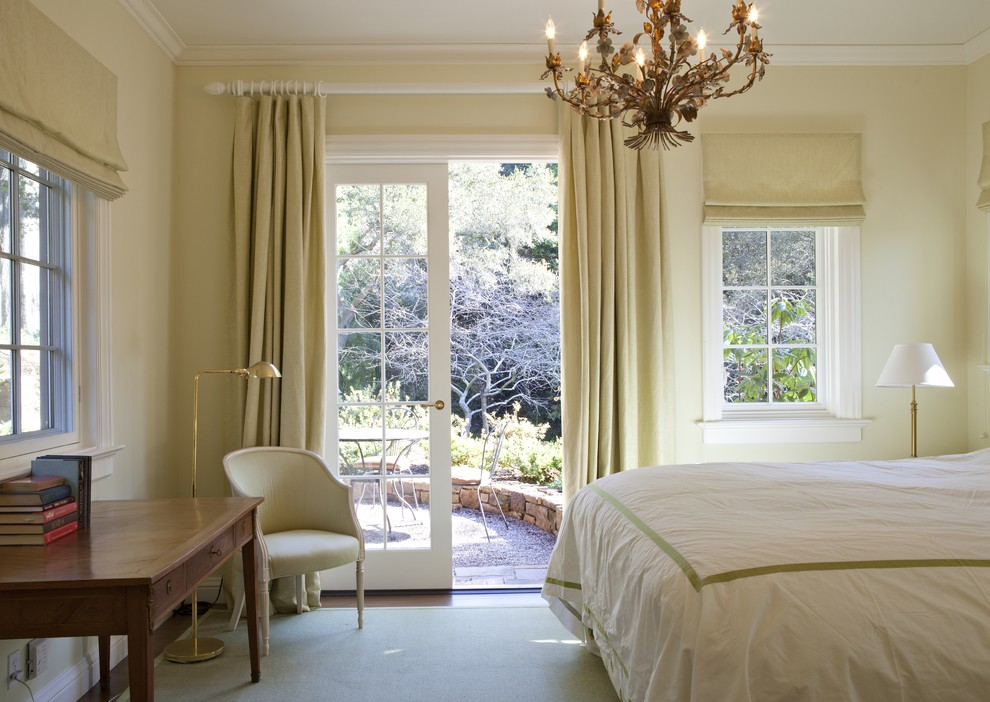 Window Drapes Bedroom Traditional with Bedroom Desk Chandelier Crown Molding Curtain Poles Curtains Drapes French Doors Hotel