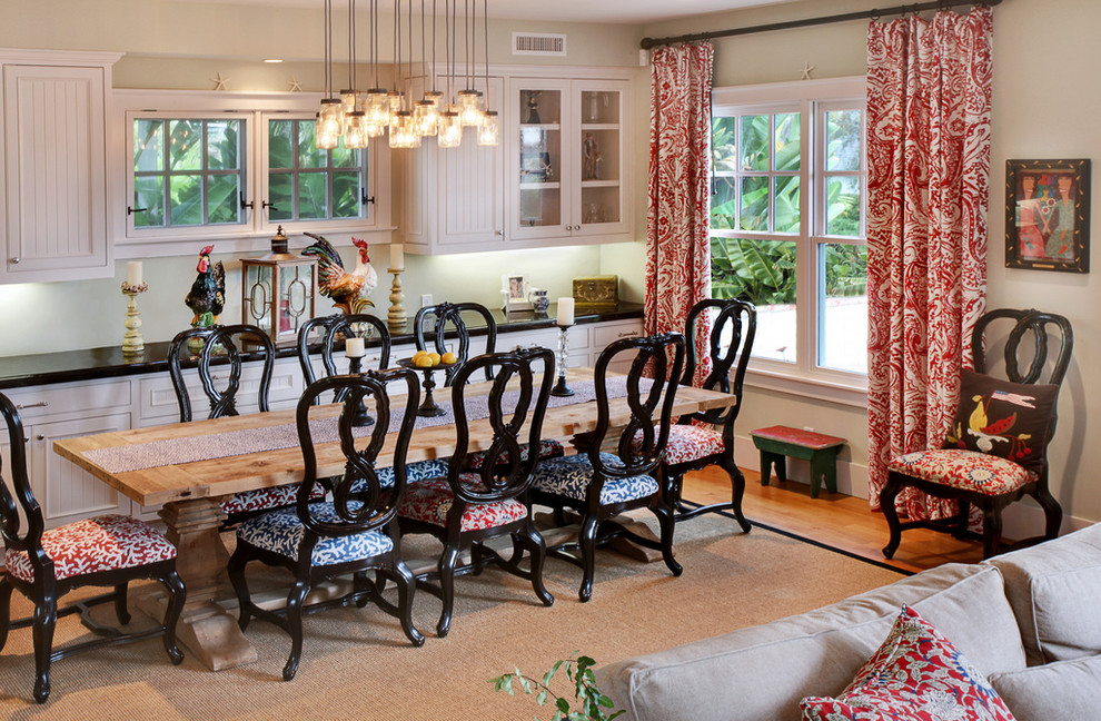 Window Drapes Dining Room Farmhouse With Area Rug Beadboard Black Countertop Chairs Cove Light Curtain Rod