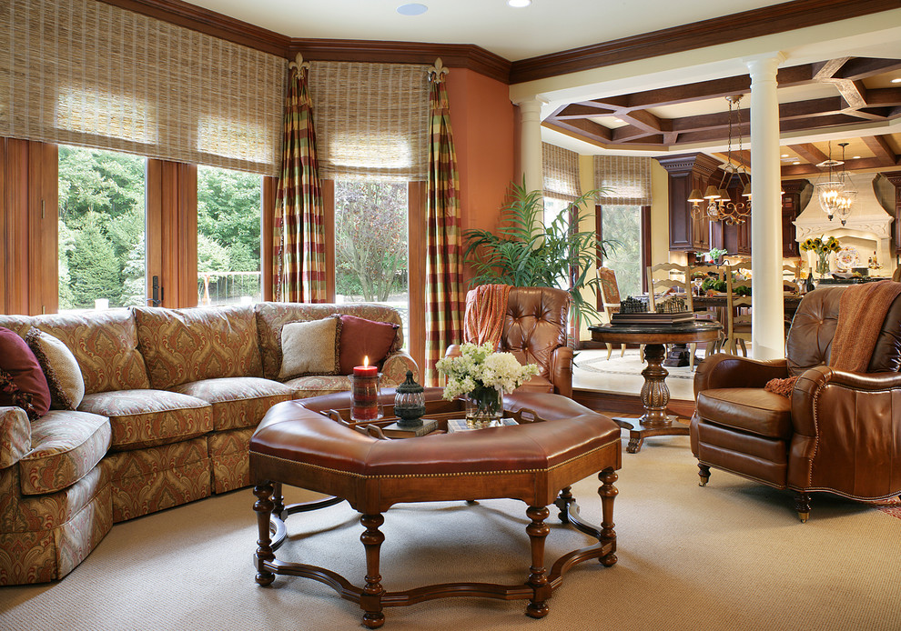 Window Drapes Family Room Traditional with Brown Dark Stained Wood Leather Nail Head Detail Plaid Side Tables Sofa