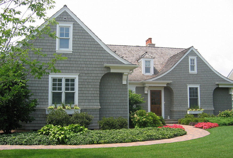 Window Planter Boxes Exterior Traditional with Cape Cod Style Dormers Entrance Entry Front Door Grass Lawn Path Shake