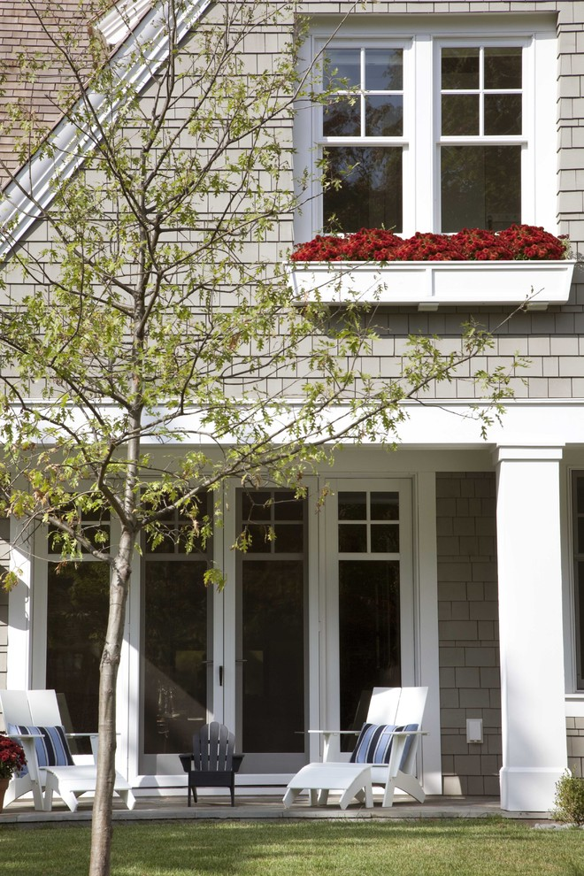 Window Planter Boxes Patio Traditional with Adirondack Chairs Cape Cod Cottage Covered Patio Grass Lawn Neutral Colors New