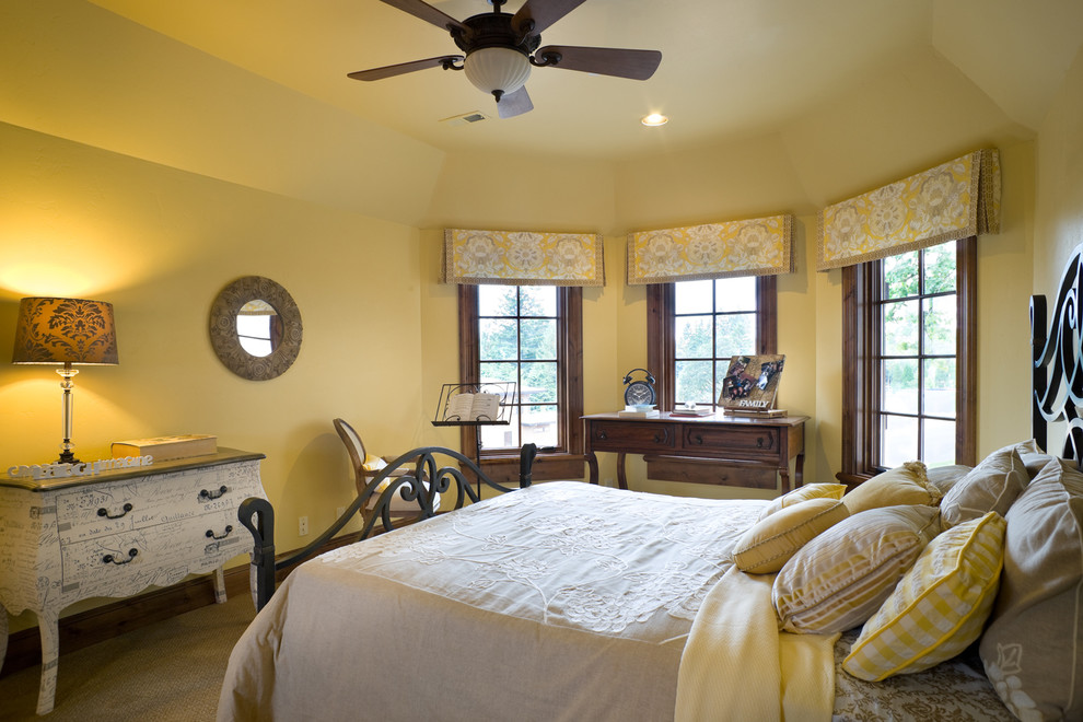 Window Toppers Bedroom Traditional with Dark Wood Window Frames Round Mirror Wood Ceiling Fan Wood Desk Wrought