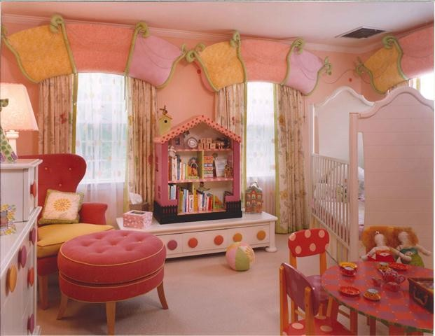 Window Toppers Kids Eclectic with Babys Room Crib Dollhouse Bookcase Dots Fun Large Drawer Knobs Orange Ottoman