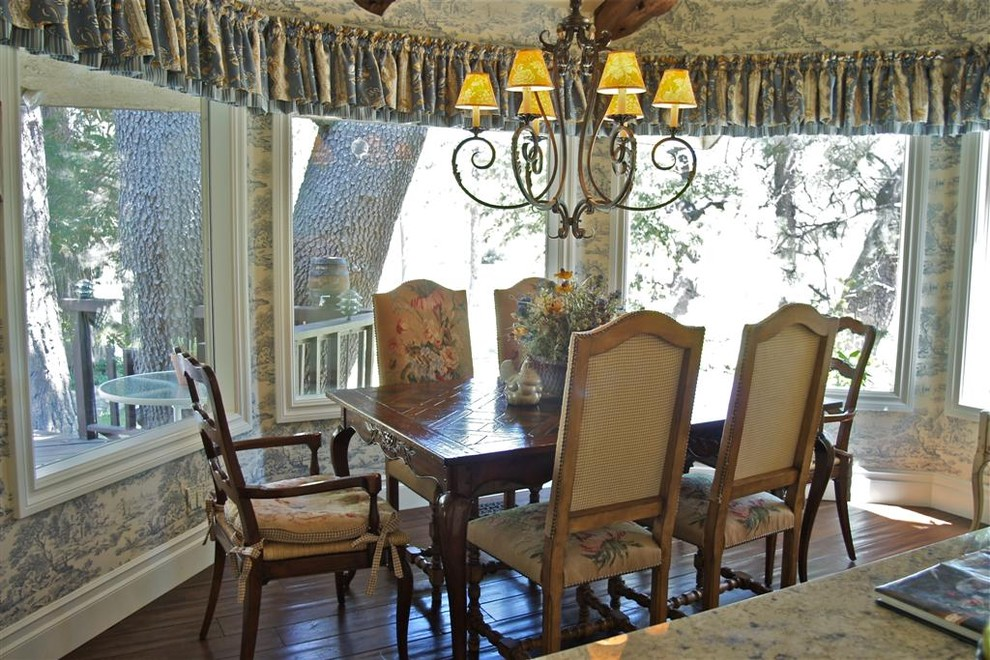 window toppers Kitchen Traditional with bay window blue country french eat in kitchen floral iron chandelier needlepoint