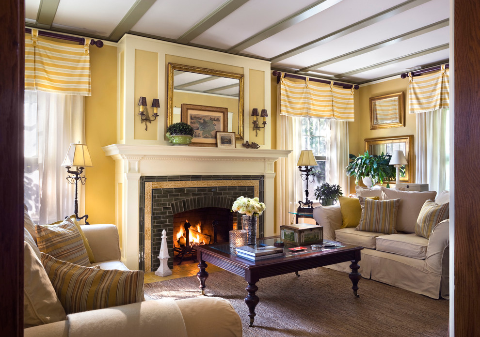 Window Toppers Living Room Traditional with Dark Wood Coffee Table Framed Mirror Striped Valance Wall Sconces White Curtain