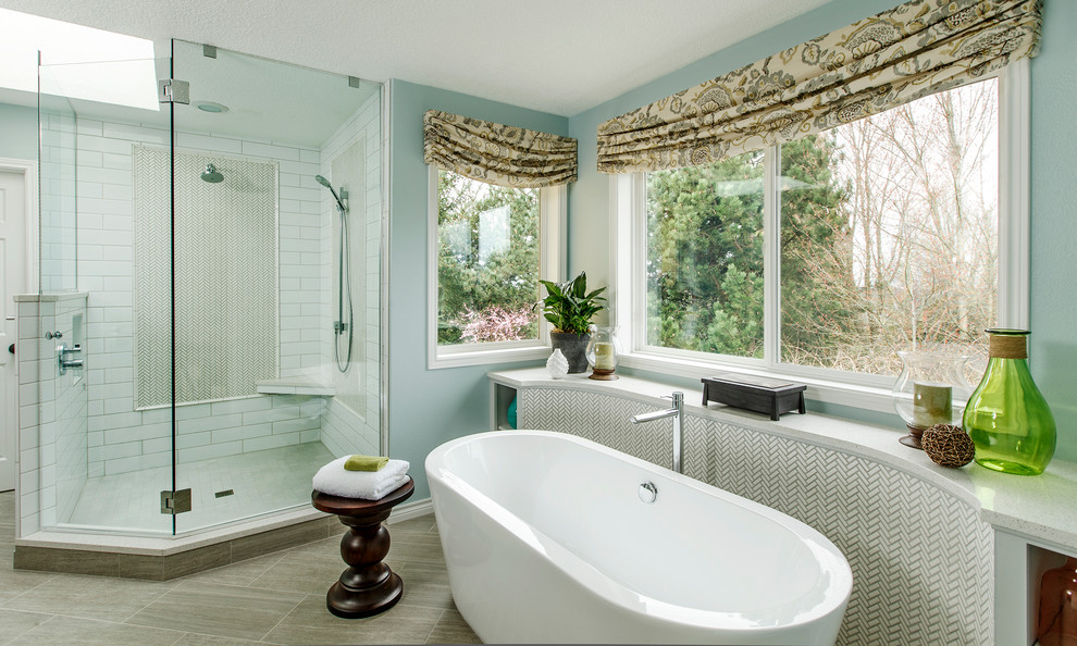 Window Valances Bathroom Traditional with Ann Sacks Corner Shower Bench Curved Cabinet Frameless Freestanding Bathtub Glass Shower