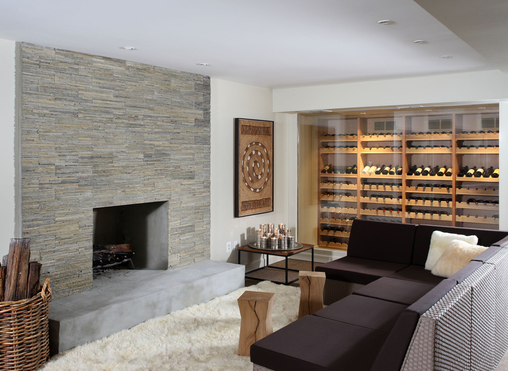 Wine Decanter Set Basement Contemporary with Fireplace Hearth Firewood Storage Sectional Sofas Stone Fireplace Surround White Rug Wicker