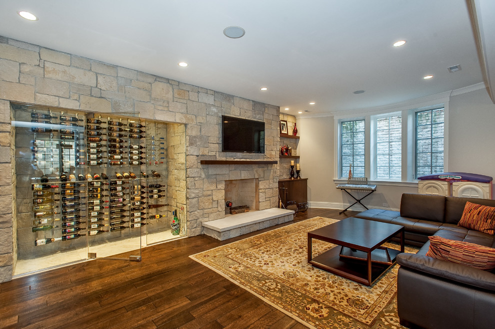 Wine Decanter Set Basement Transitional with Accent Wall Basement Entertainment Area Brown Sectional Sofa Dark Wood Floor Family