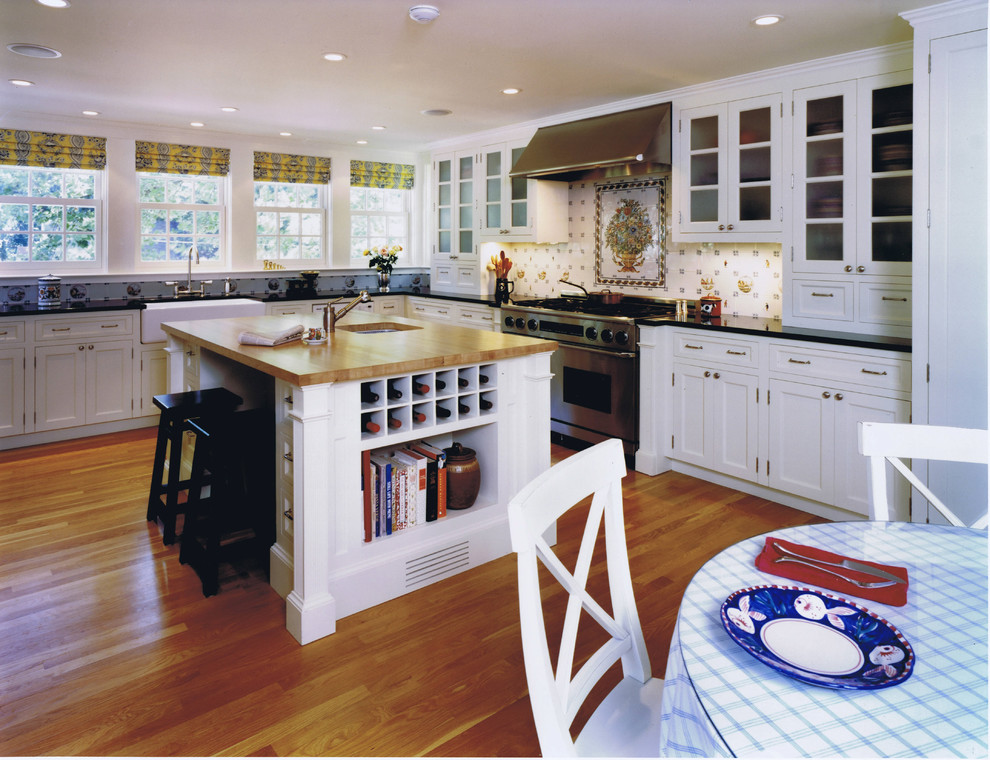 Wine Decanter Set Kitchen Traditional with Accent Tiles Apron Sink Black Countertops Breakfast Bar Built Ins Butcher Block