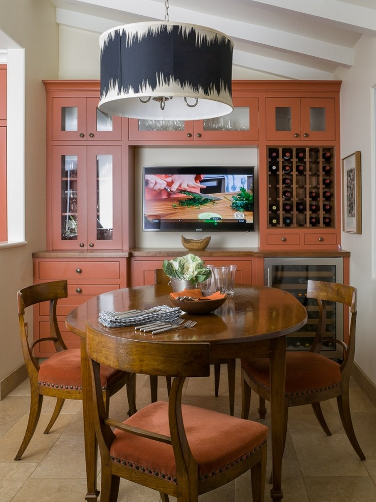 Wine Hutch Dining Room Traditional with Beige Stone Floor Beige Wall Black Black and Beige Drum Pendant Cabinets