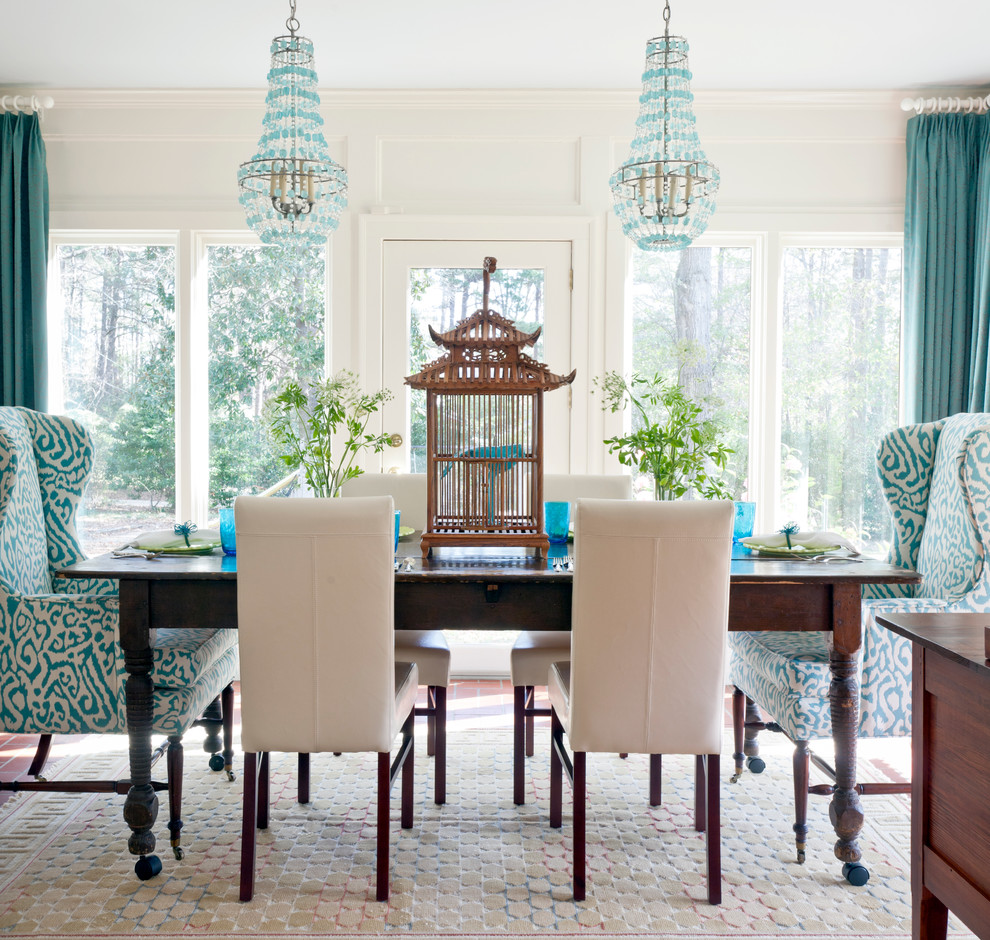 Wingback Chair Dining Room Eclectic with Arteriors Birdcage Chandeliers Chinoiserie Farm Table Mixed Dining Furniture Table on Wheels