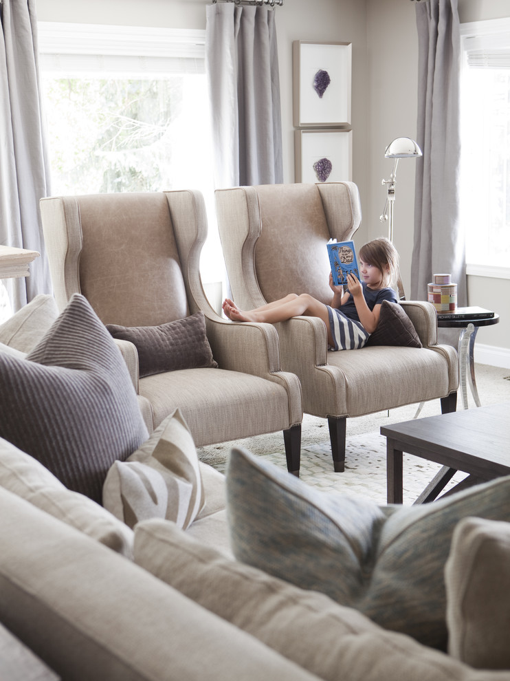 wingback chair Family Room Transitional with crystals Window Treatments