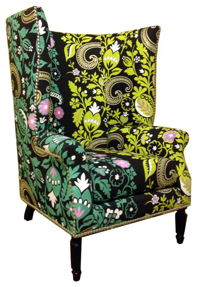 Wingback Chair Covers Spaces with Black and Blue Fabric Black and Green Fabric Black and Lime Green