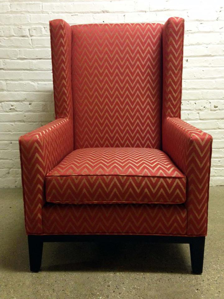 Wingback Chair Covers Spaces with Chair Chevron Fabric Chicago Upholstery Custom Chair Custom Wing Back Chair Custom