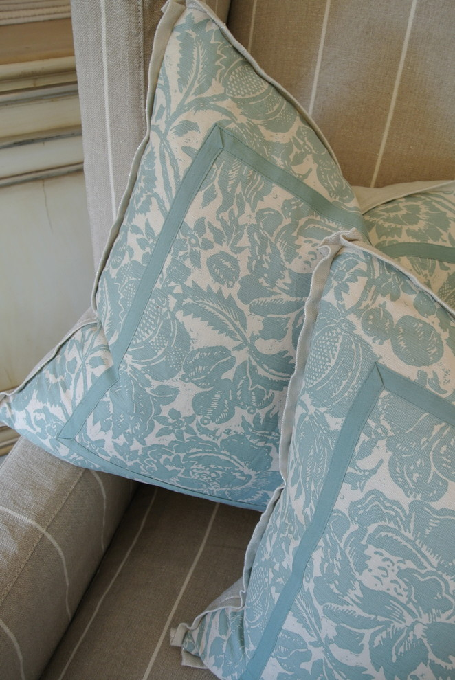 Wingback Chair Slipcover Living Room Traditional with Aqua Aqua Pillows Blue Blue and White Floral Pillow Cream Custom Custom Made
