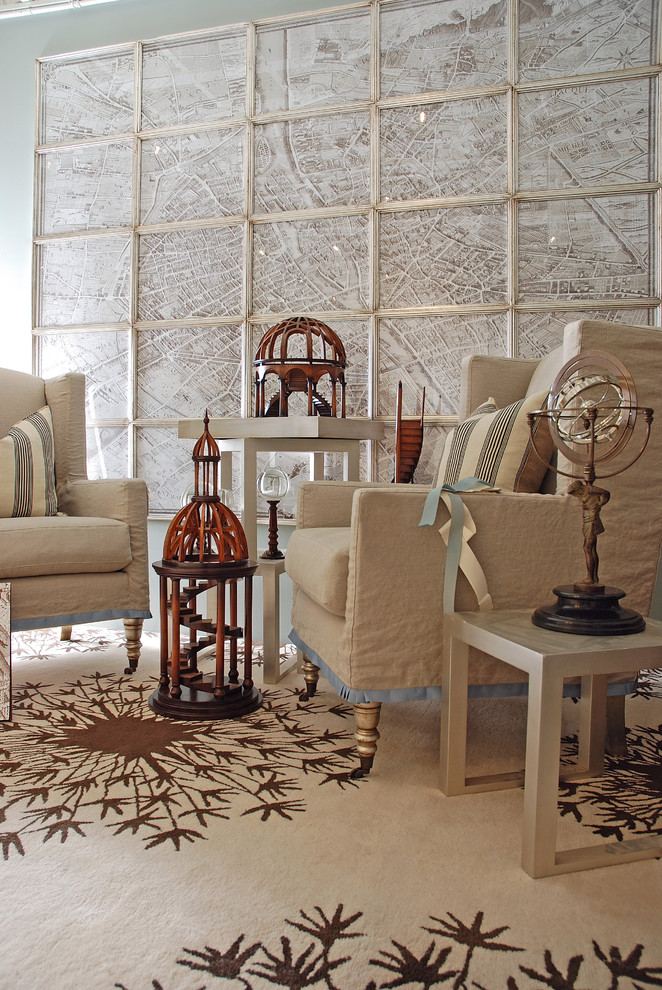 wingback chair slipcovers Living Room Craftsman with artwork brown and cream rug casters custom Large Frame map nesting tables