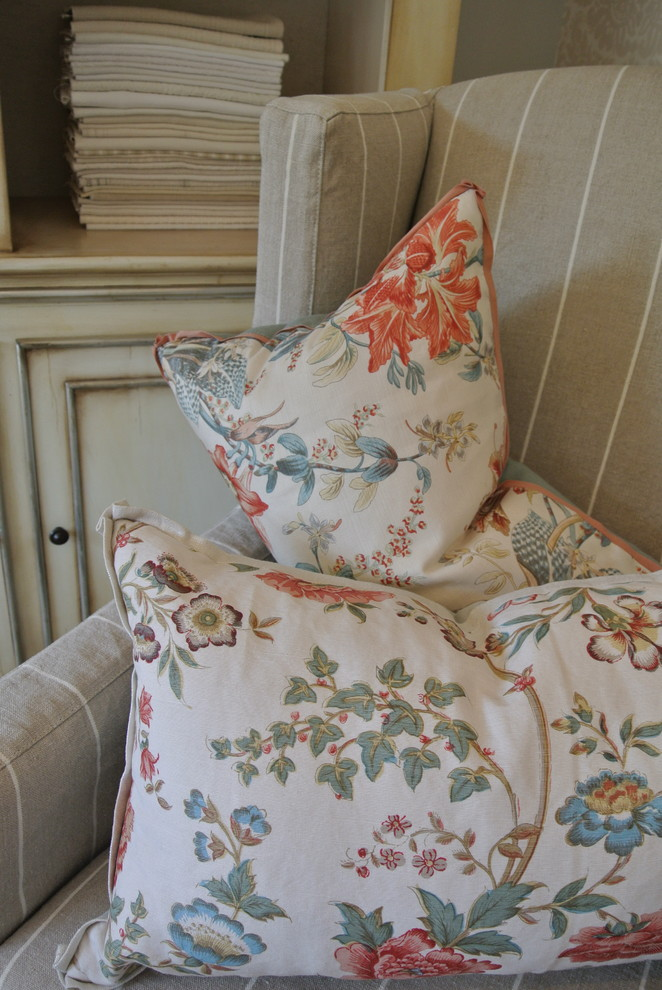 Wingback Chair Slipcovers Living Room Traditional with Blue Bright Floral Pillows Custom Floral Floral Lumbar Pillow Floral Pillows Lumbar