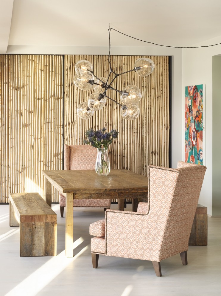 Wingback Chairs Dining Room Eclectic with Accent Wall Adelman Birch Birch Screen Bubble Chandelier Dining Dining Bench Mixed