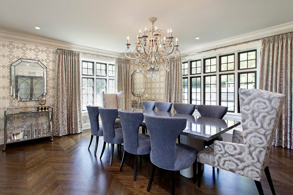 Wingback Dining Chair Dining Room Contemporary with Bar Cart Beveled Mirror Chandelier Chevron Crown Molding Curtains Drapes Herringbone Parquet