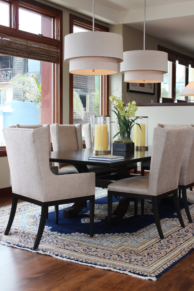 Wingback Dining Chair Dining Room Transitional with Area Carpet Beige and Navy Carpet Beige Color Scheme Beige Dining Chair