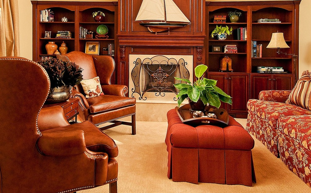wingback recliner Family Room Traditional with bookcases bookshelves built ins den Fireplace fireplace mantel fireplace screen fireplace surround